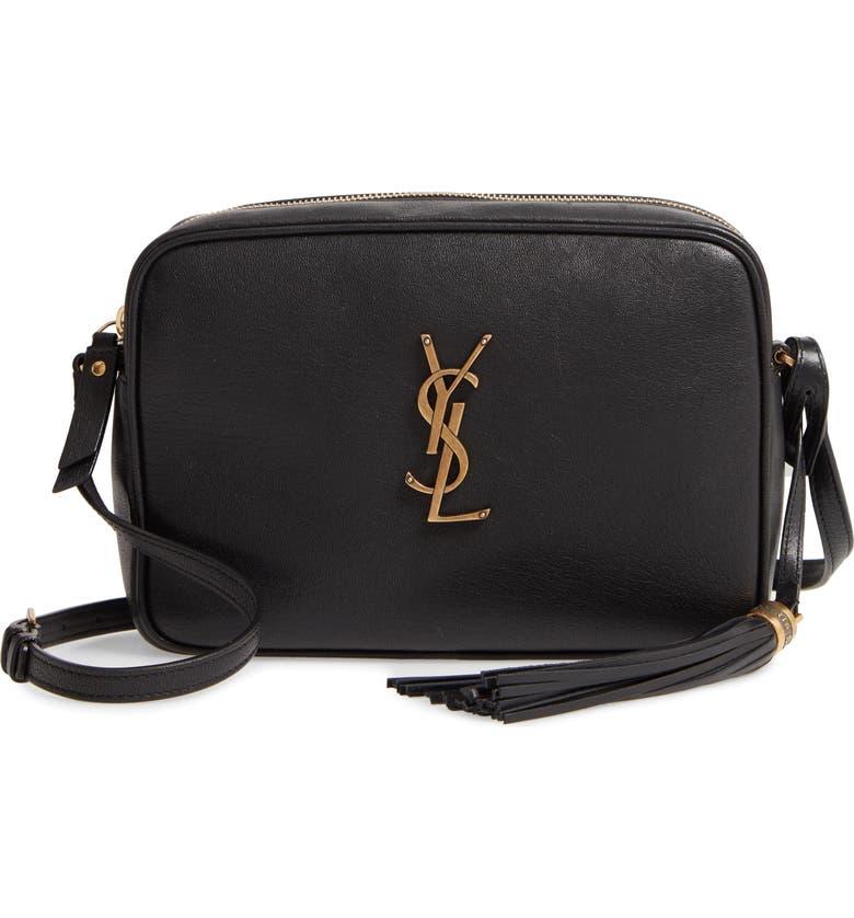 SAINT LAURENT Medium Lou Leather Camera Bag, Main, color, NOIR