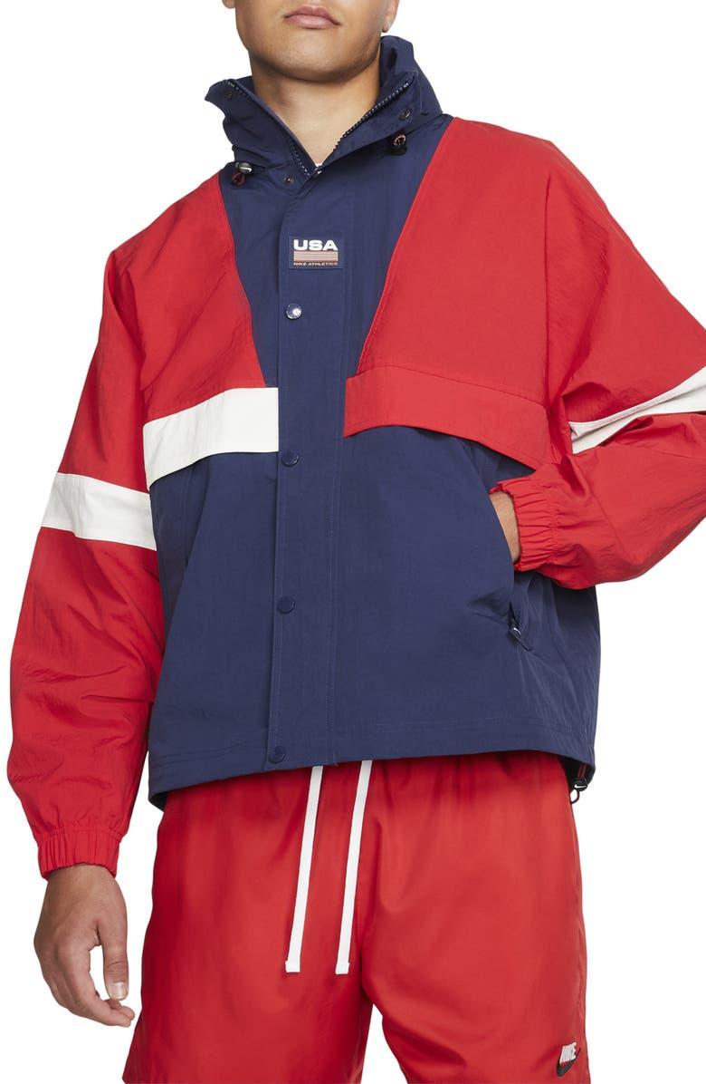 NIKE Men's Swoosh Striped Jacket, Main, color, UNIVERSITY RED/ MIDNIGHT NAVY