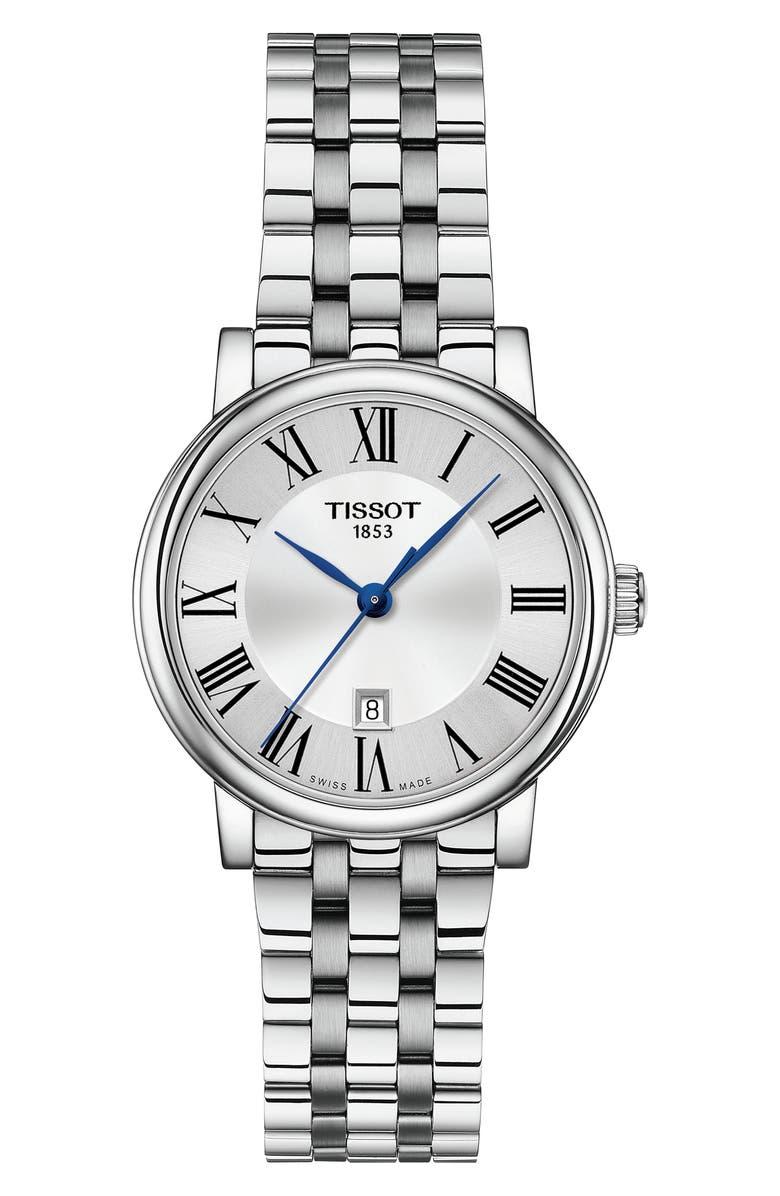 TISSOT T-Classic Carson Bracelet Watch, 30mm, Main, color, SILVER