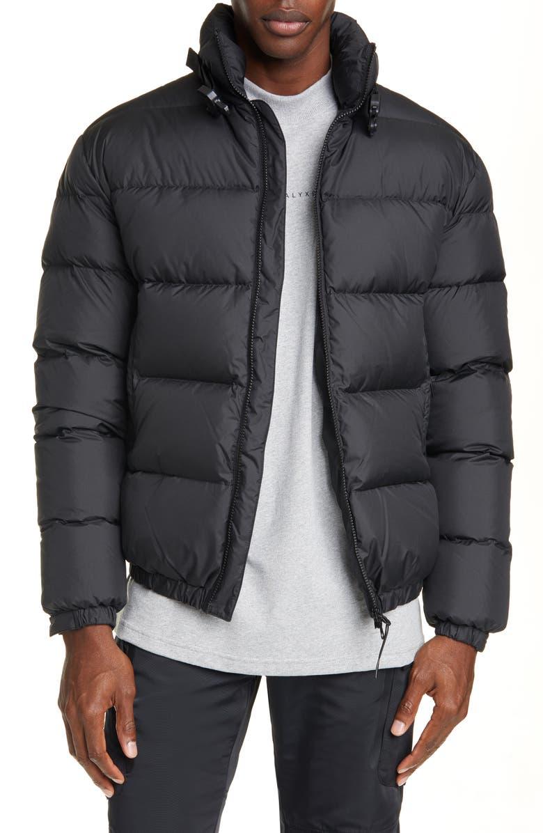 1017 ALYX 9SM Down Puffer Coat, Main, color, BLACK