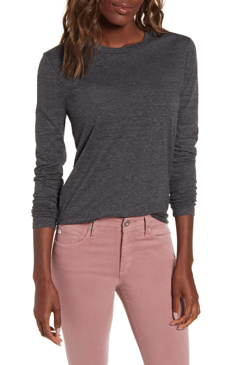 AG LB Heathered Long Sleeve Stretch Cotton Tee, Main, color, HEATHER CHARCOAL