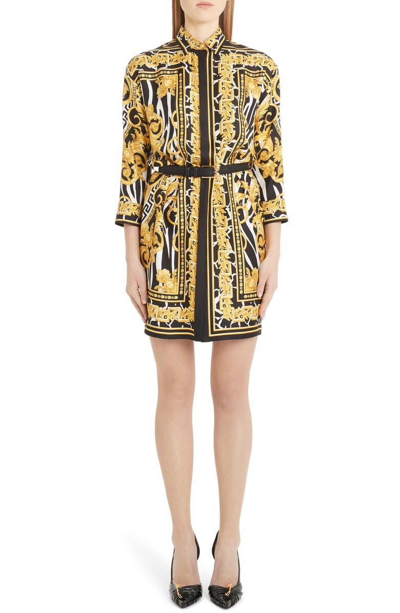 VERSACE Barco Print Belted Silk Shirtdress, Main, color, BARCO