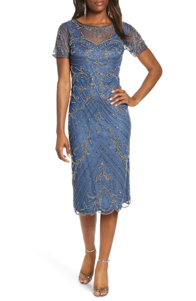 PISARRO NIGHTS Illusion Beaded Mesh Cocktail Dress, Main, color, BLUE