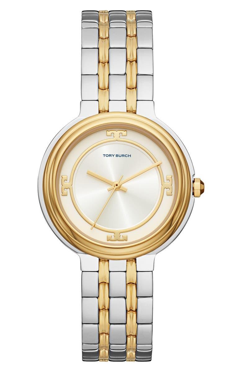 토리버치 Tory Burch The Bailey Two-Tone Bracelet Watch, 34mm,2t gold