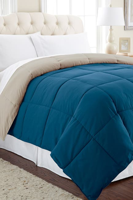 Image of Modern Threads Down Alternative Reversible King Comforter - Blue Coral/Oatmeal