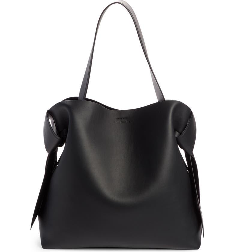 ACNE STUDIOS Midi Musubi Leather Bag, Main, color, BLACK