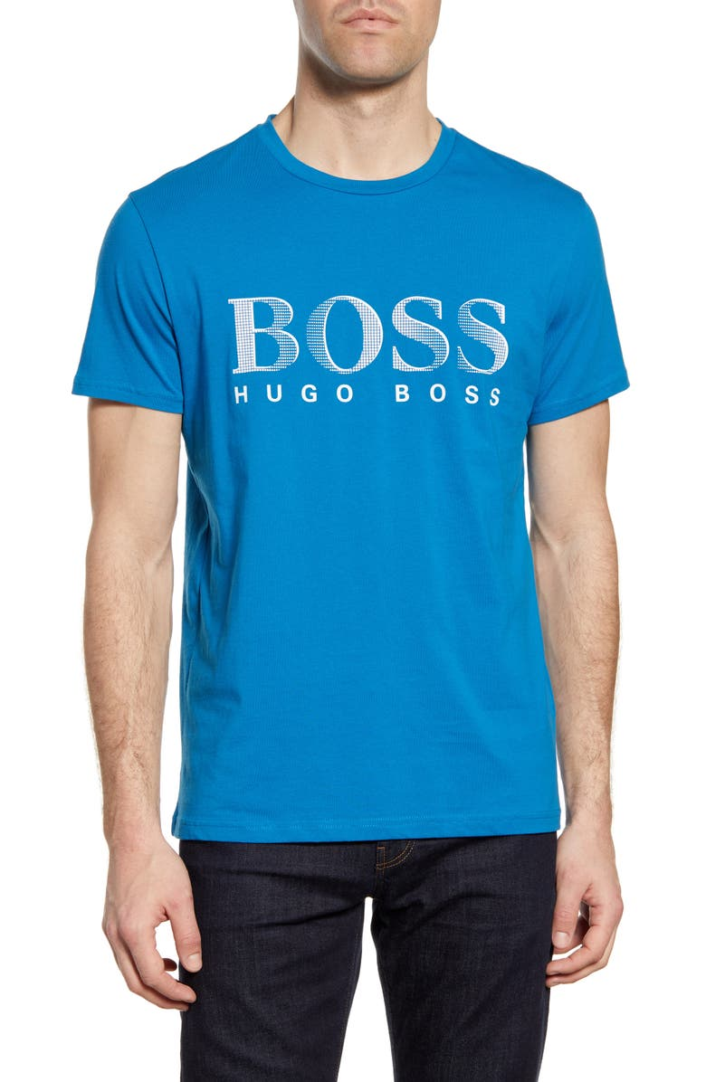BOSS Cotton Graphic Tee, Main, color, BRIGHT BLUE