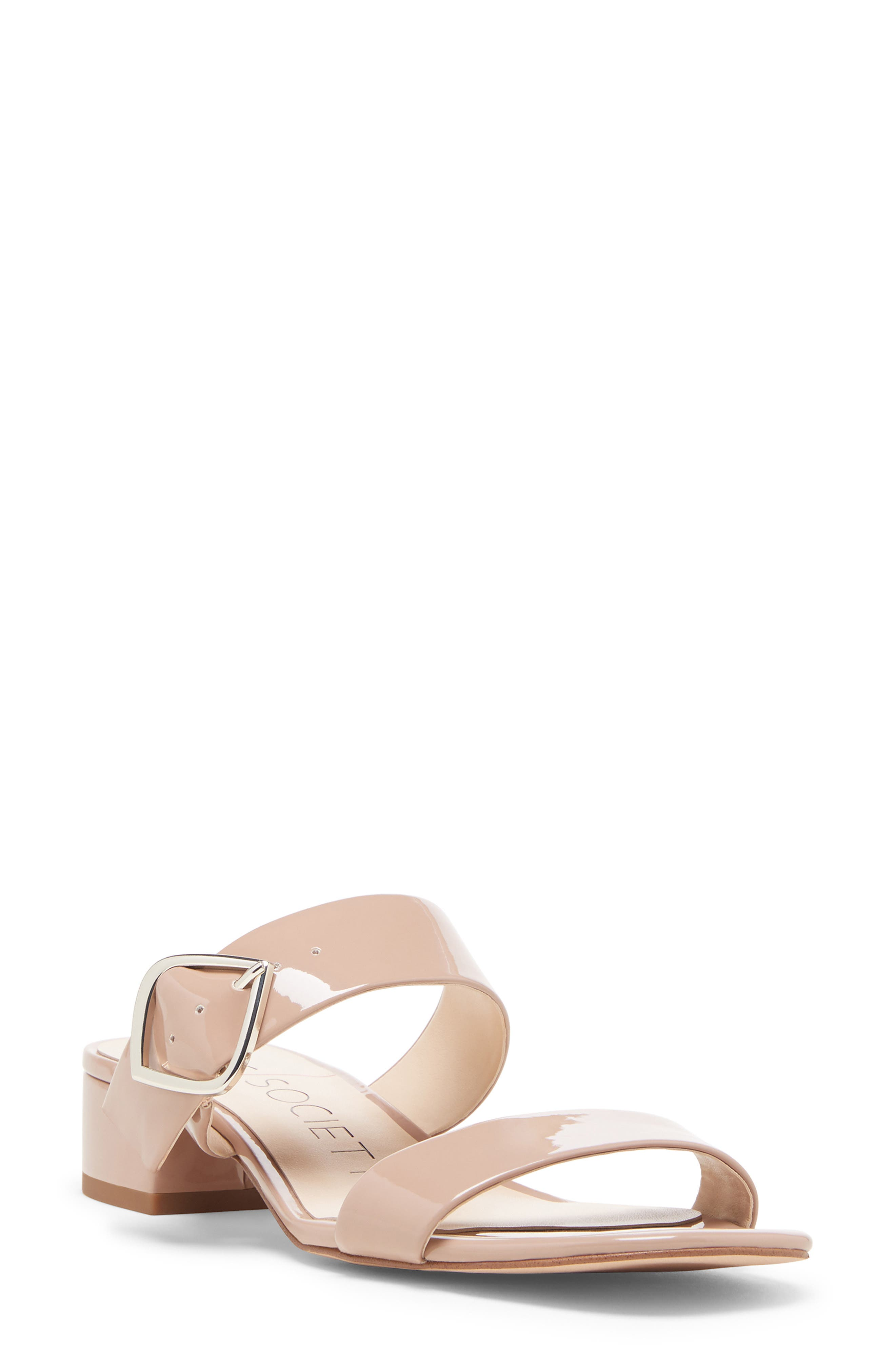 Emberlise Slide Sandal, Main, color, NUDE FAUX PATENT LEATHER