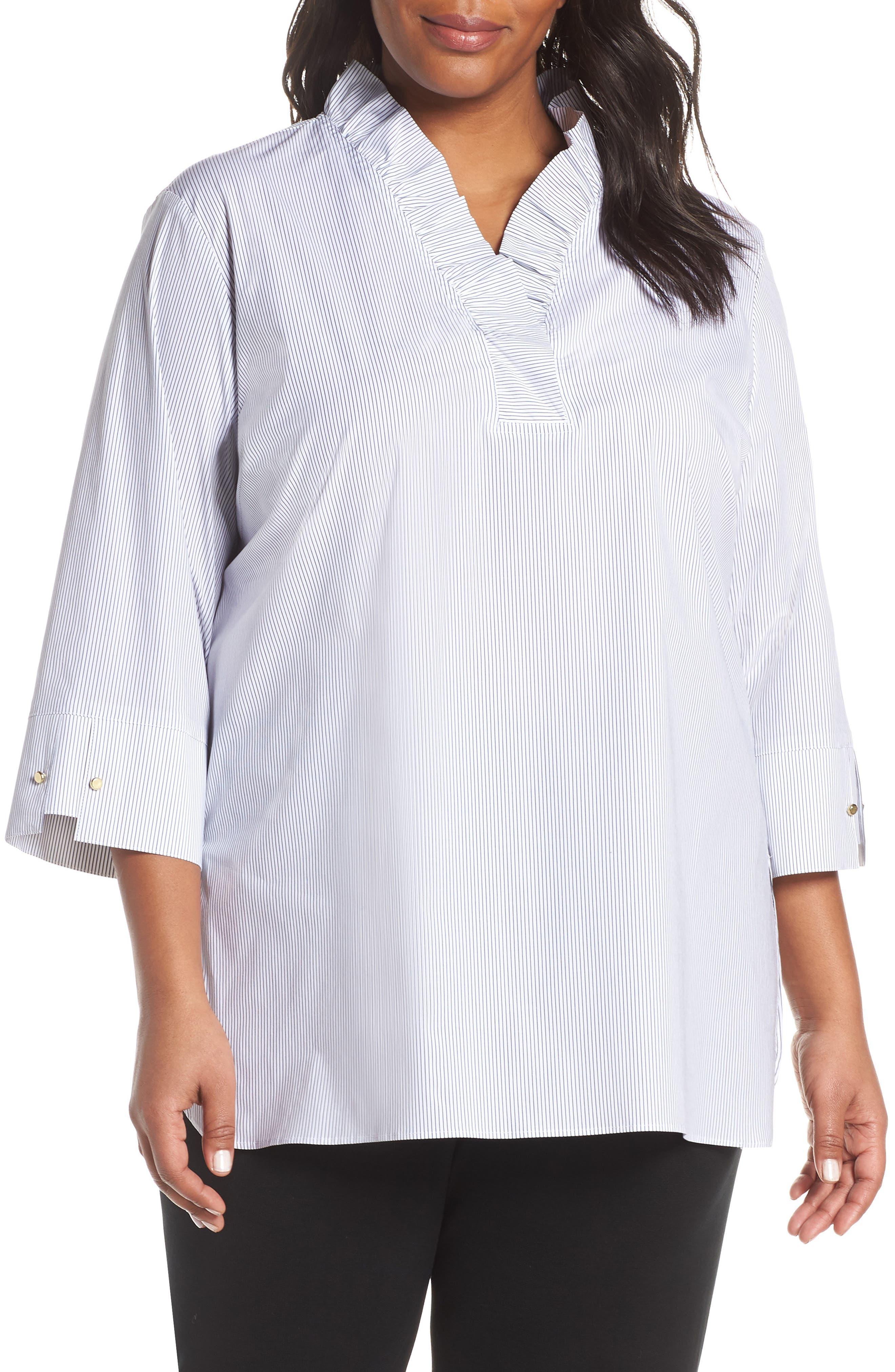 ,                             Ruffle Neck Shirt,                             Main thumbnail 1, color,                             BLACK/ WHITE