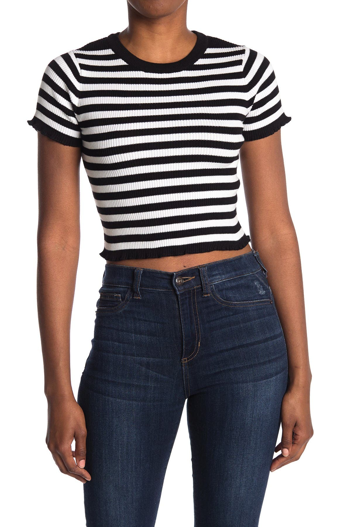 1930s Blouses, Tops, Shirt Styles | History Double Zero Striped Crop Sweater - Black Stripe at Nordstrom Rack $16.97 AT vintagedancer.com
