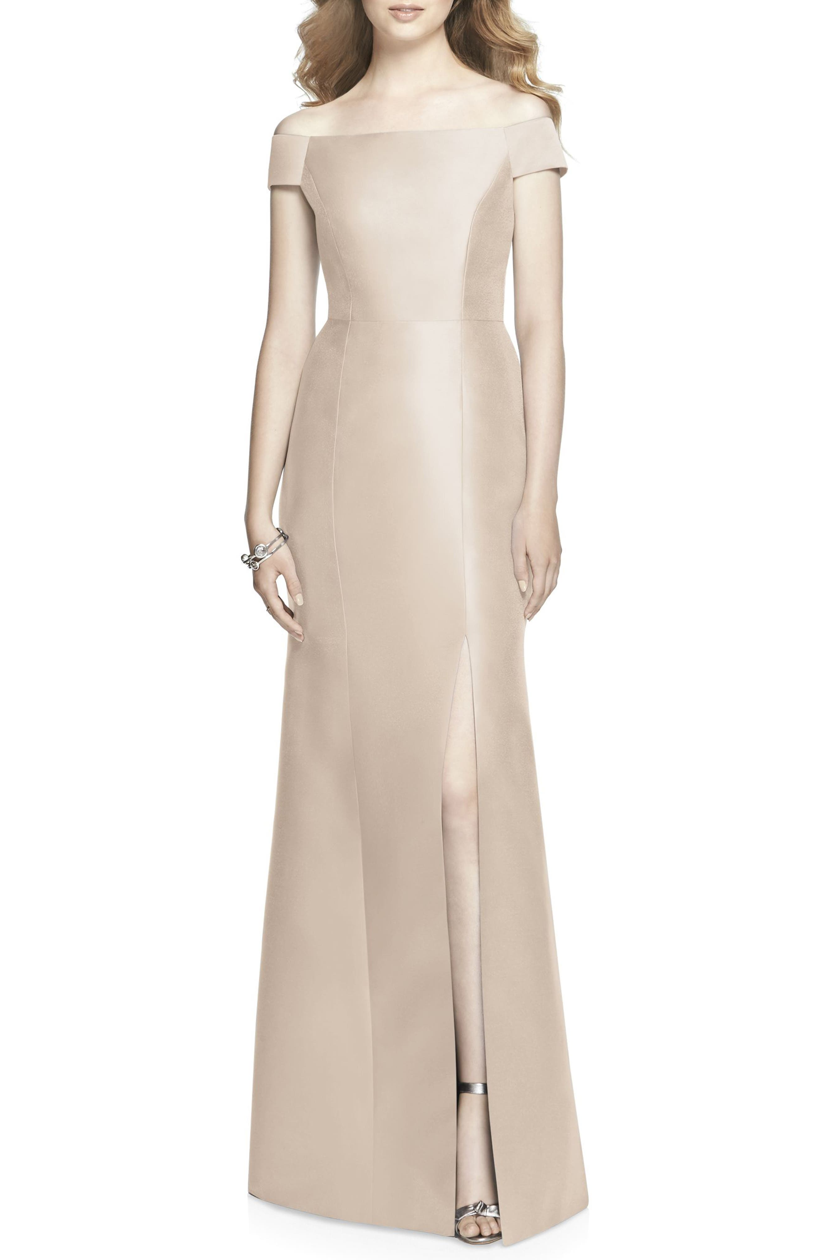 Alfred Sung Off The Shoulder Sateen Gown, Beige