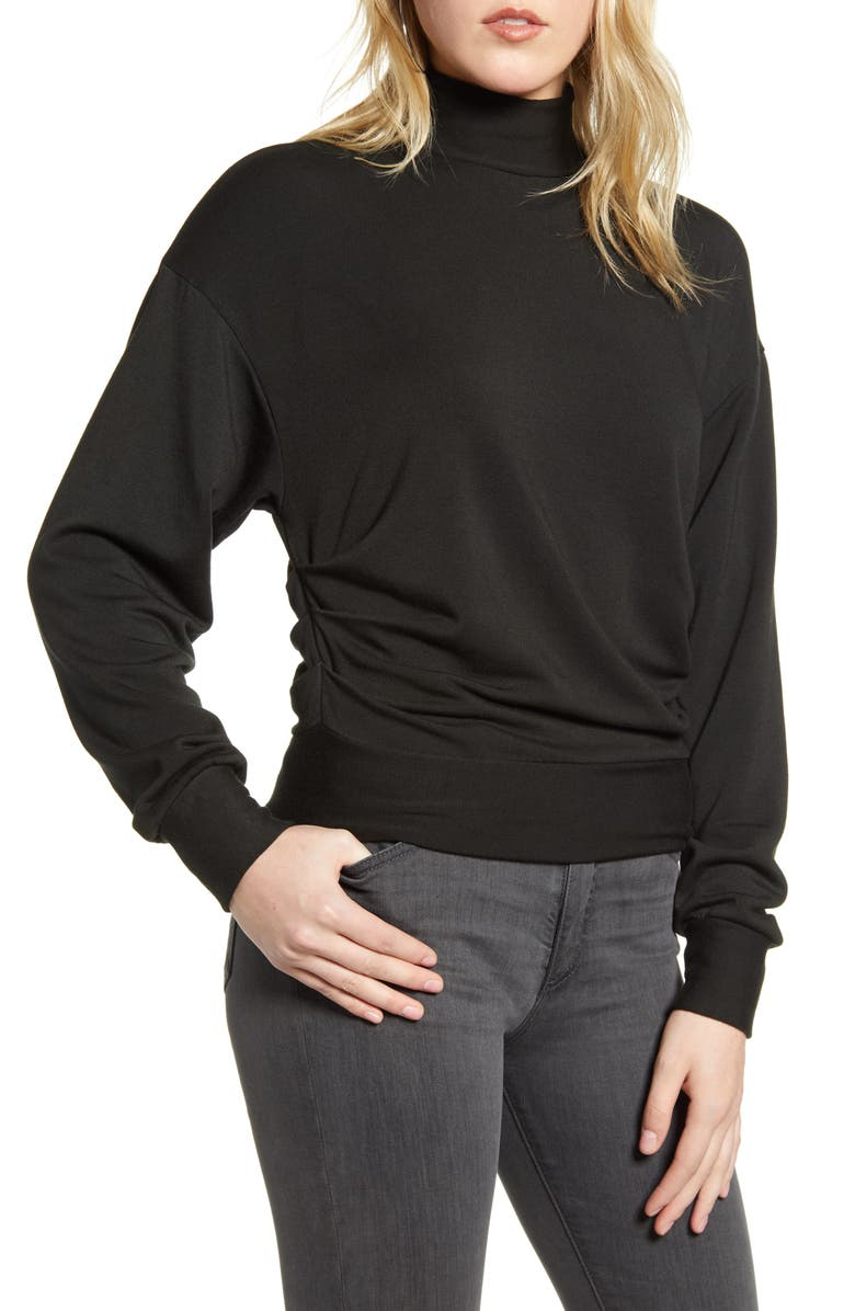 STATESIDE Mock Neck Fleece Sweatshirt, Main, color, 001