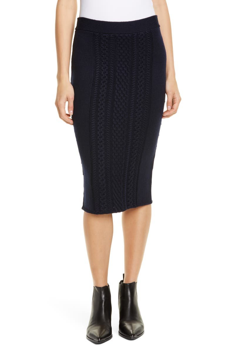 ATM ANTHONY THOMAS MELILLO Wool Blend Cable Knit Skirt, Main, color, MIDNIGHT