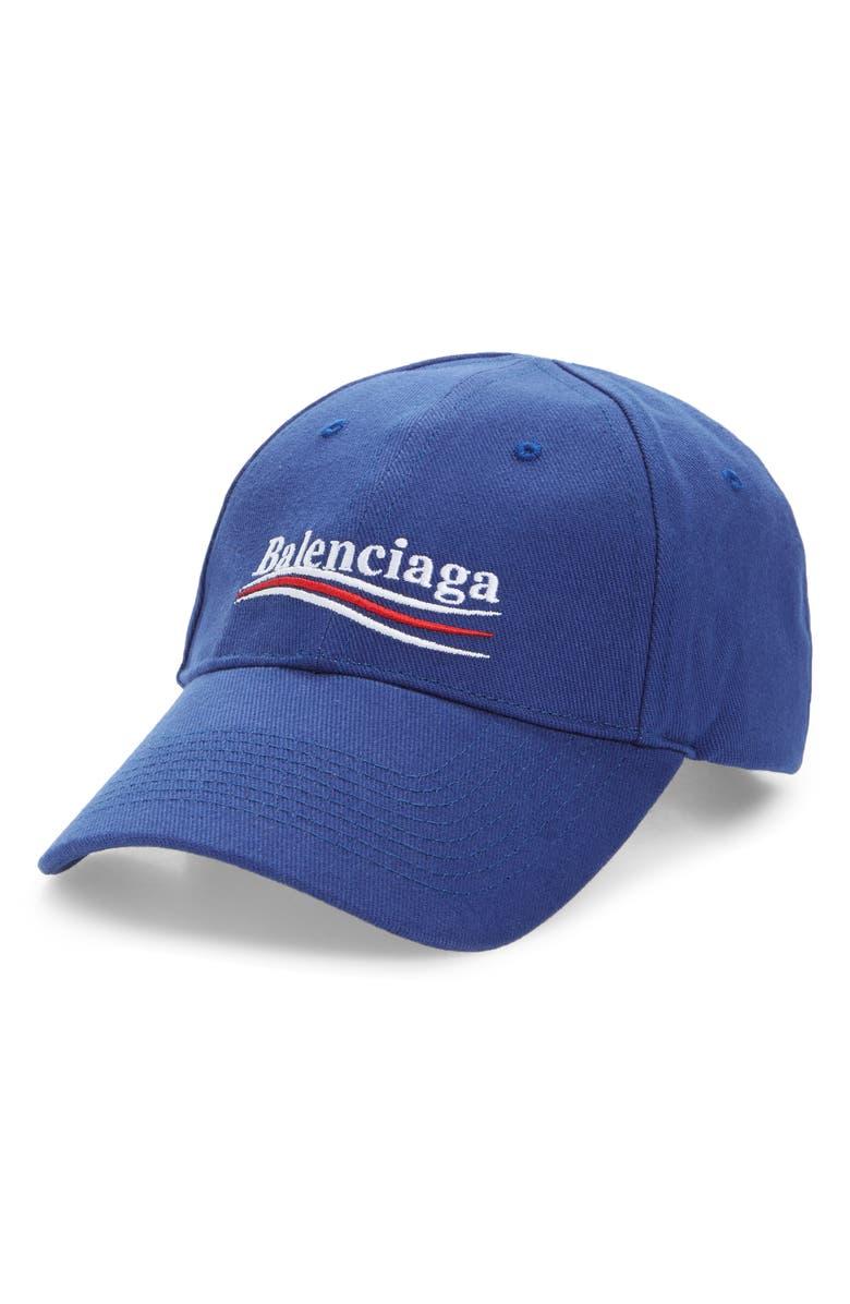 BALENCIAGA Political Embroidered Logo Baseball Cap, Main, color, SAPPHIRE/ WHITE