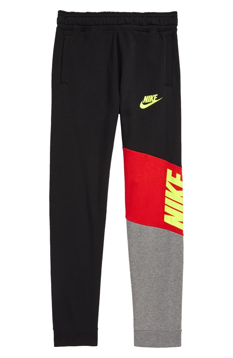 NIKE Sportswear Core Amplify Colorblock Fleece Pants, Main, color, BLACK/ UNIVERSITY RED