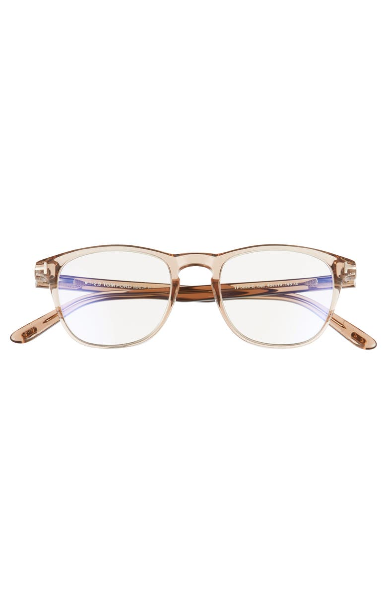 TOM FORD 48mm Blue Light Blocking Square Glasses, Alternate, color, SHINY LIGHT BROWN