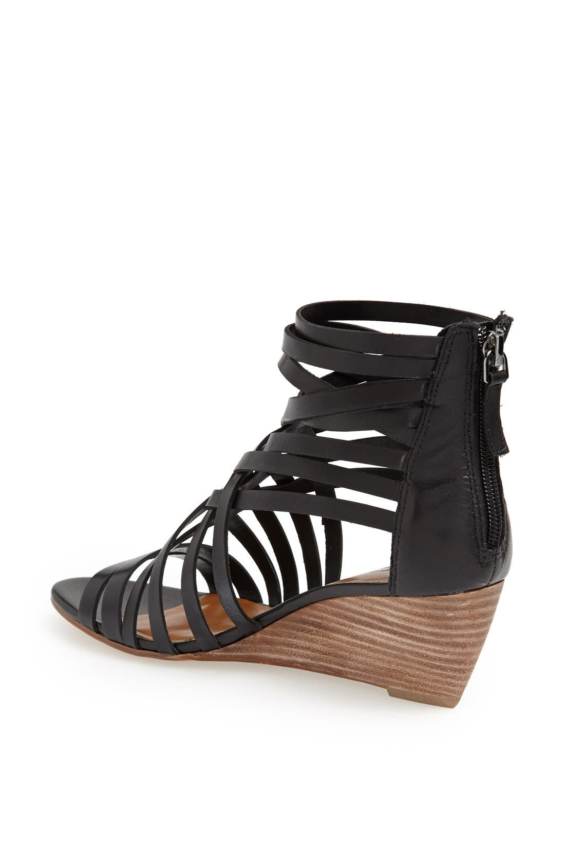 ,                             'Neta' Leather Wedge Sandal,                             Alternate thumbnail 3, color,                             001
