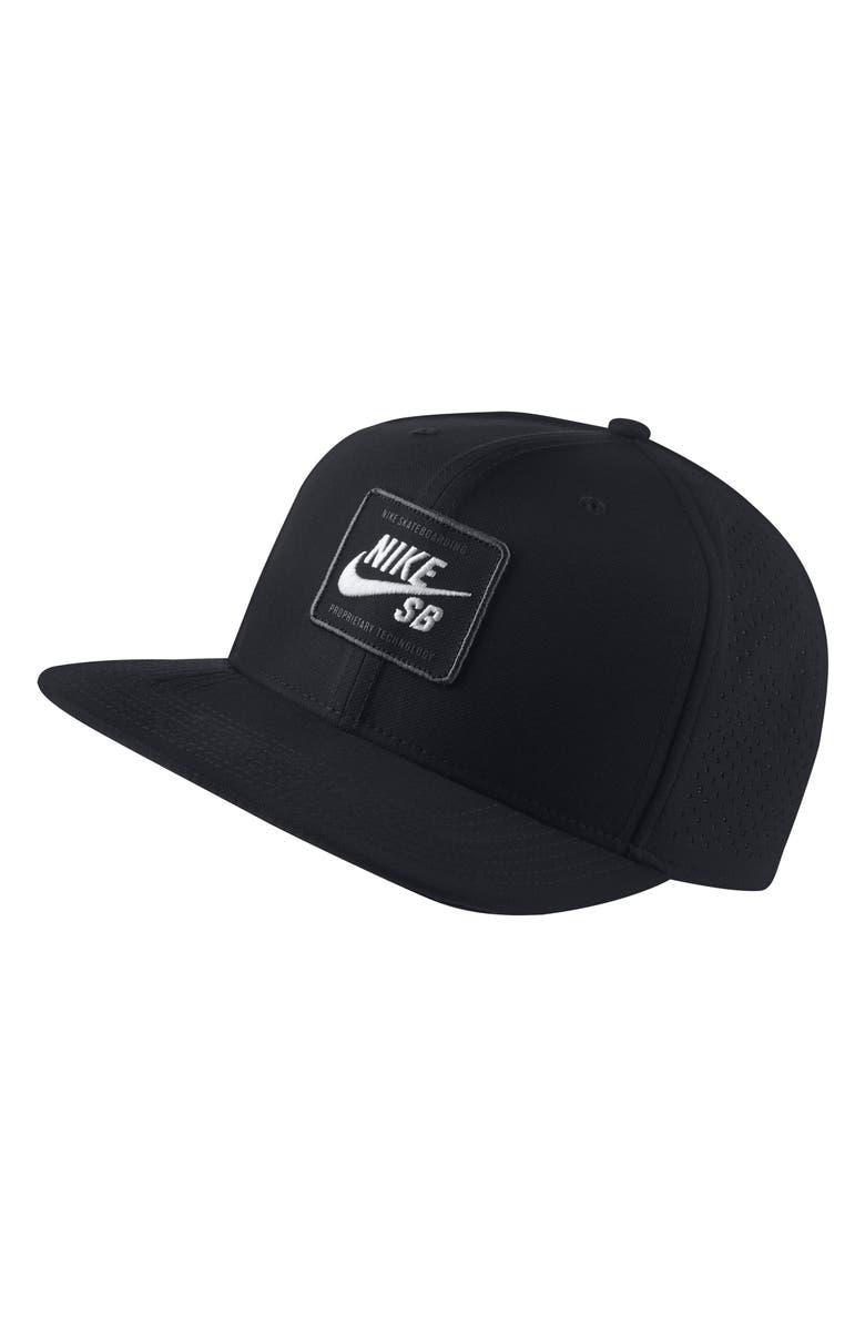 NIKE AeroBill Pro 2.0 Snapback Baseball Cap, Main, color, BLACK/WHITE
