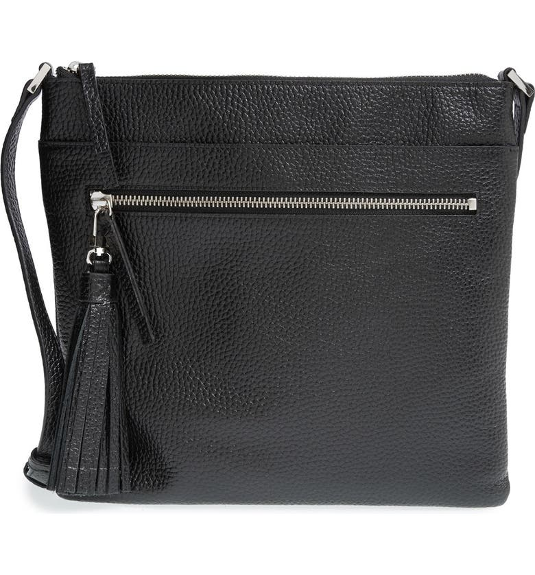 Tasseled Leather Crossbody Bag