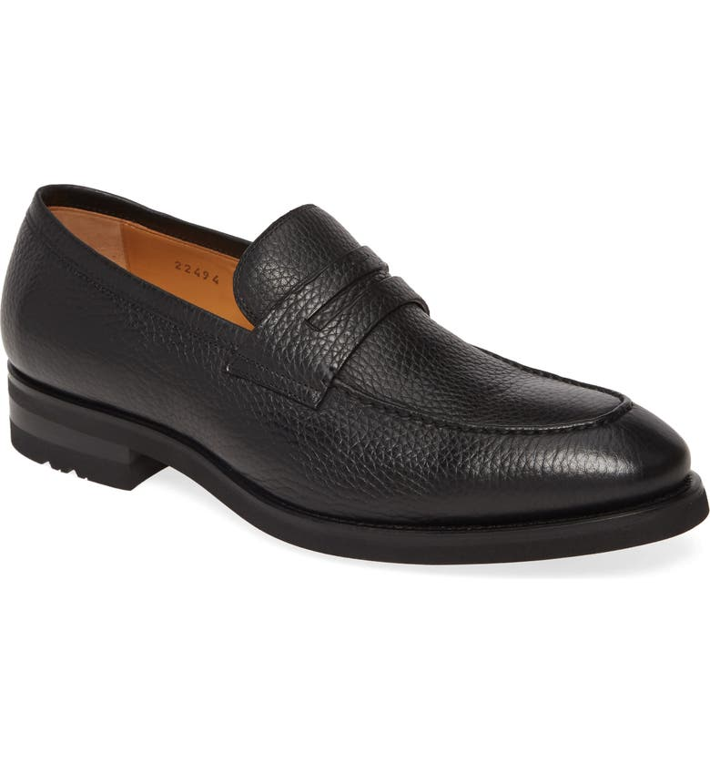 MAGNANNI Matlin II Penny Loafer, Main, color, BLACK LEATHER