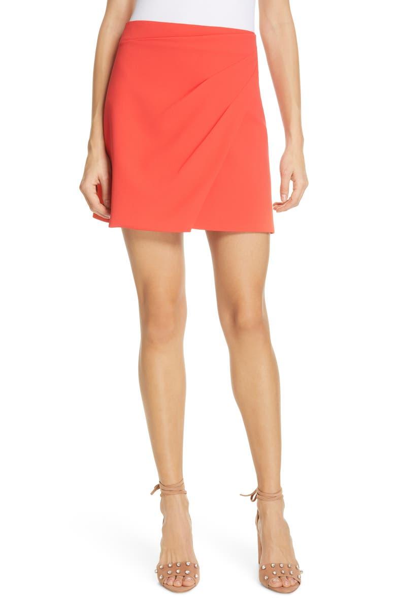 ALICE + OLIVIA Shaylee Asymmetrical Drape Wrap Miniskirt, Main, color, 800