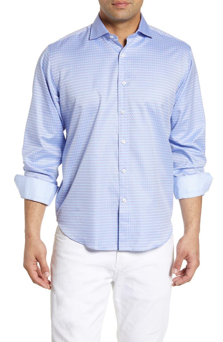 BUGATCHI Classic Fit Check Shirt, Main, color, AIR BLUE