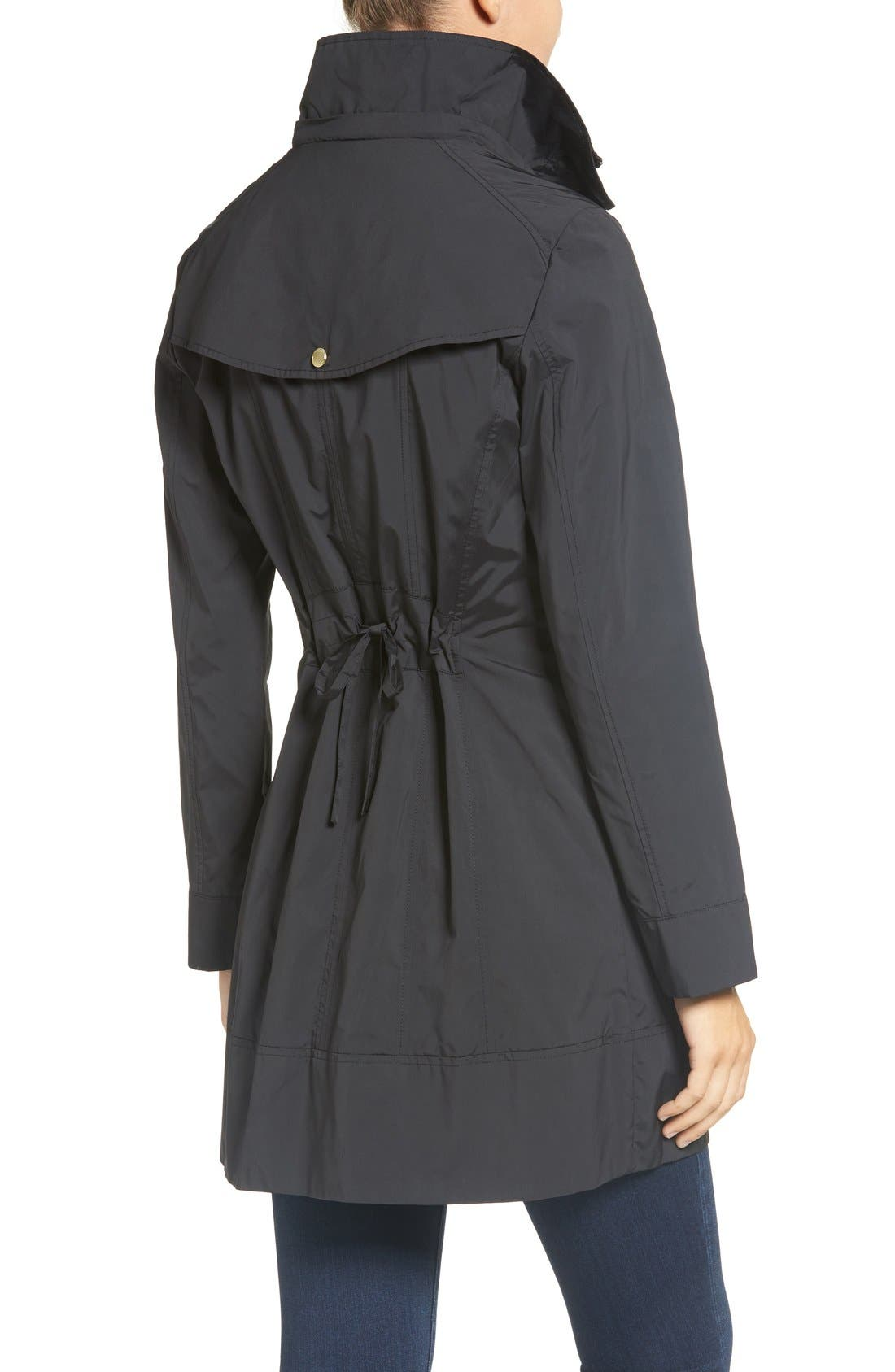 ,                             Back Bow Packable Hooded Raincoat,                             Alternate thumbnail 4, color,                             BLACK