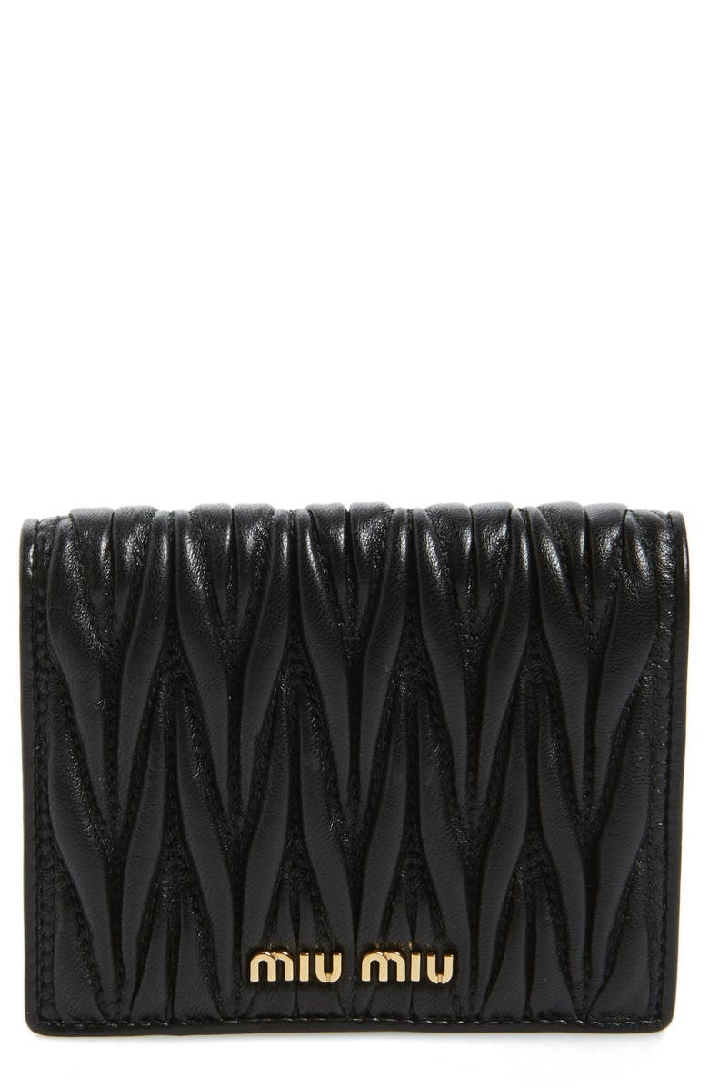 MIU MIU Matelassé Leather Wallet, Main, color, F0002- BLACK
