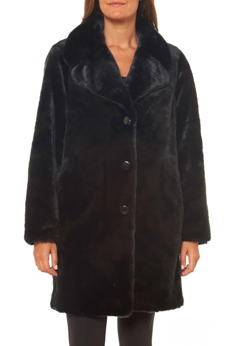 KATE SPADE NEW YORK faux fur coat, Main, color, 001