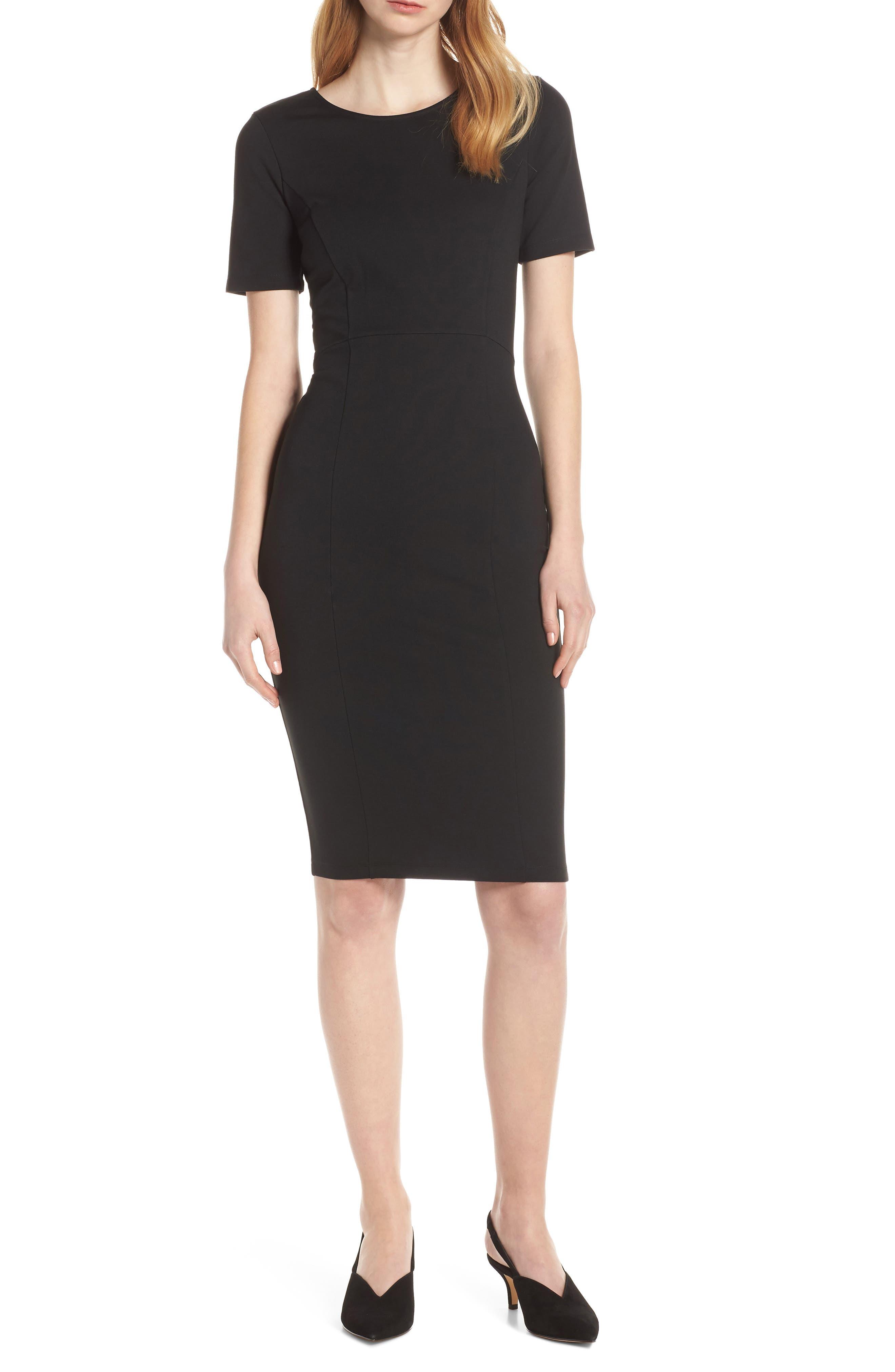 ,                             Zip Back Sheath Dress,                             Alternate thumbnail 7, color,                             BLACK