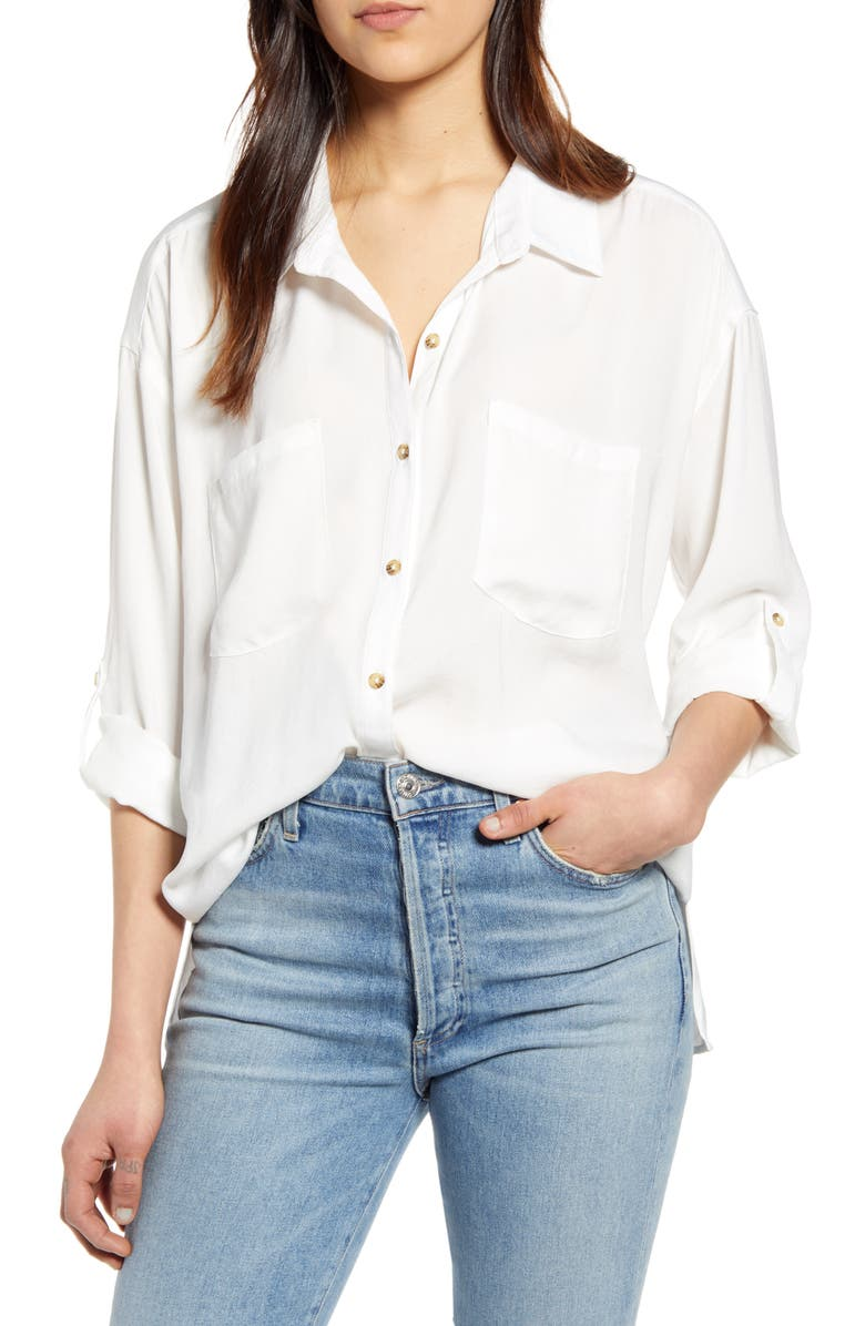 WIT & WISDOM Patch Pocket Crinkle Button-Up Shirt, Main, color, 107