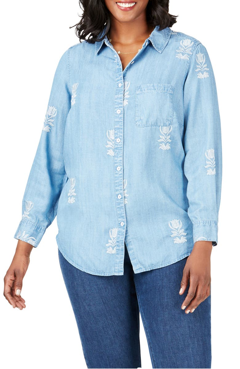 FOXCROFT Haven Embroidered Floral Tencel<sup>®</sup> Lyocell Shirt, Main, color, LIGHT DENIM