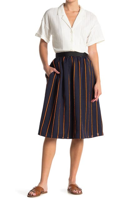 Image of FRNCH Stripe Print Midi Skirt
