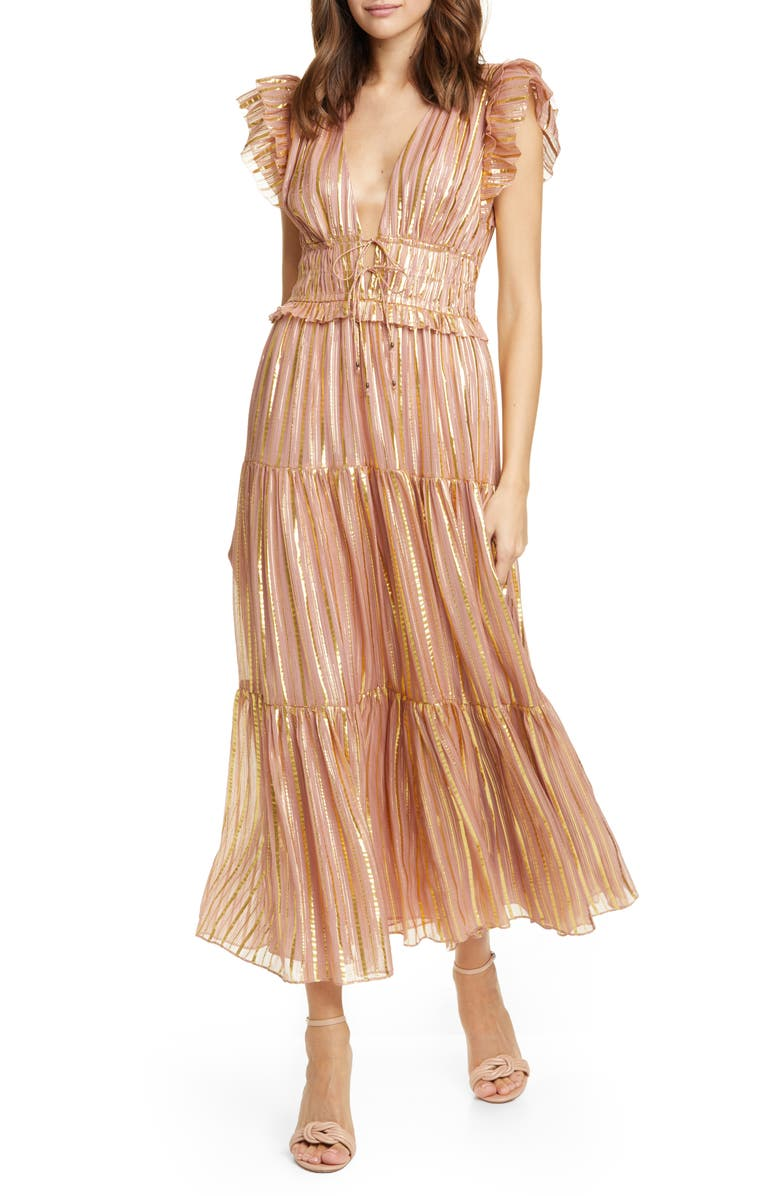 ULLA JOHNSON Justyne Metallic Stripe Silk Blend Maxi Dress, Main, color, ROSE