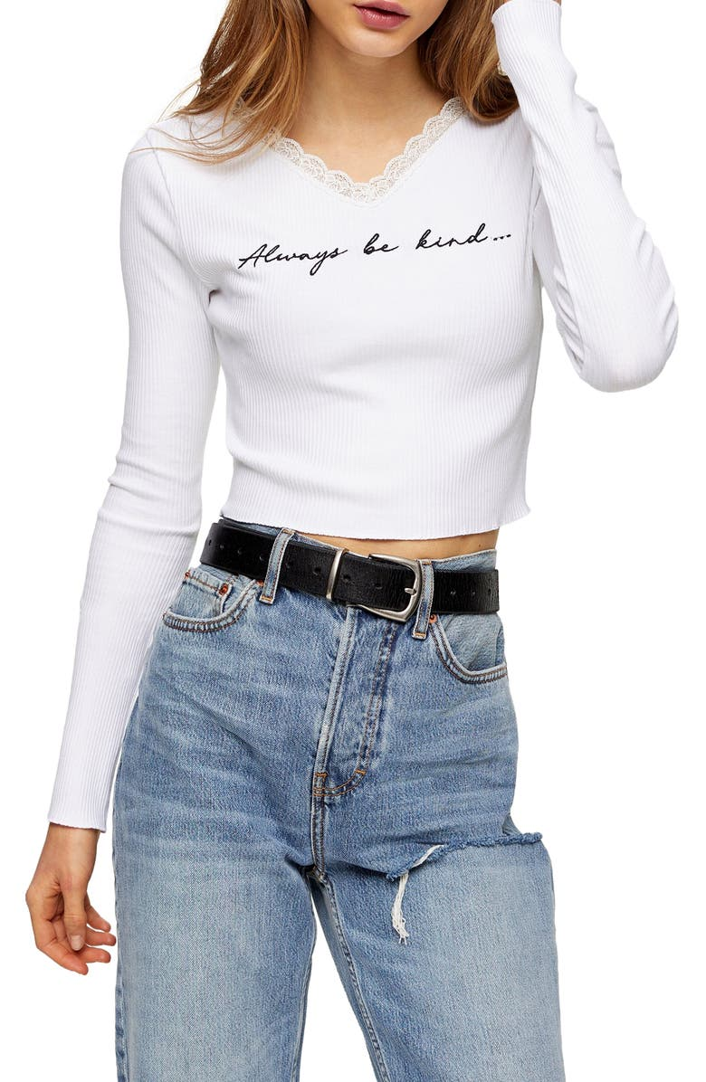 TOPSHOP Be Kind Lace Trim Ribbed T-Shirt, Main, color, WHITE