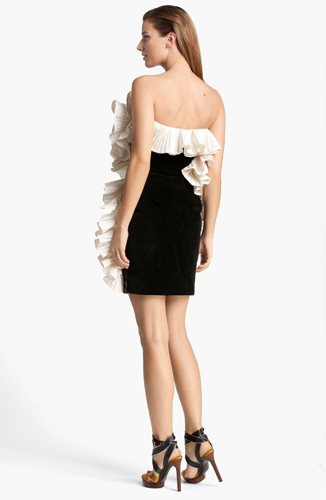 ,                             Contrast Ruffle Velvet Cocktail Dress,                             Alternate thumbnail 2, color,                             001