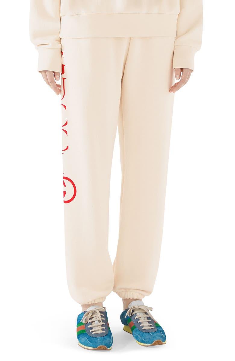 GUCCI Logo Sweatpants, Main, color, NATURAL/ LIVE RED