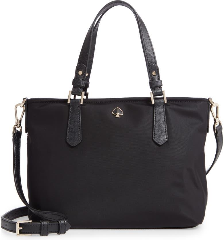 KATE SPADE NEW YORK small taylor nylon satchel, Main, color, BLACK