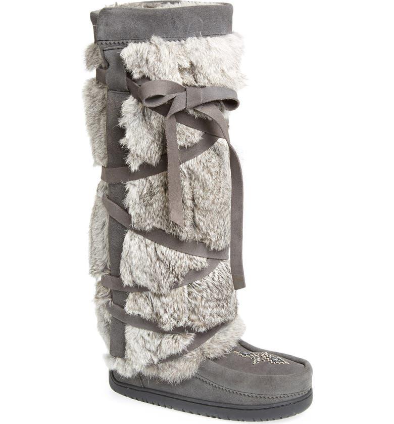 MANITOBAH MUKLUKS Genuine Rabbit Fur Tall Wrap Boot, Main, color, CHARCOAL