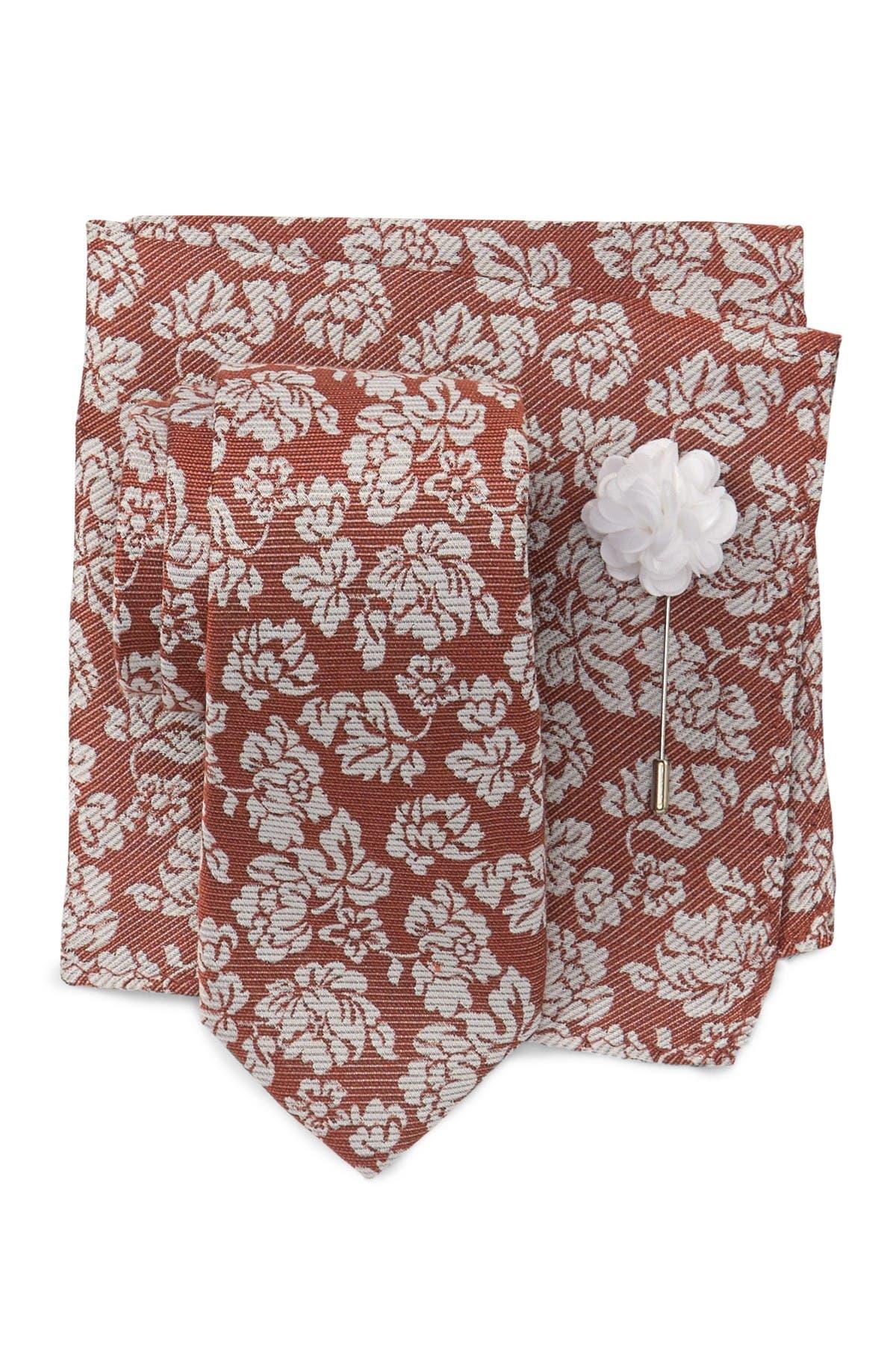 Image of Ben Sherman Ian Floral Tie, Pocket Square & Pin Set