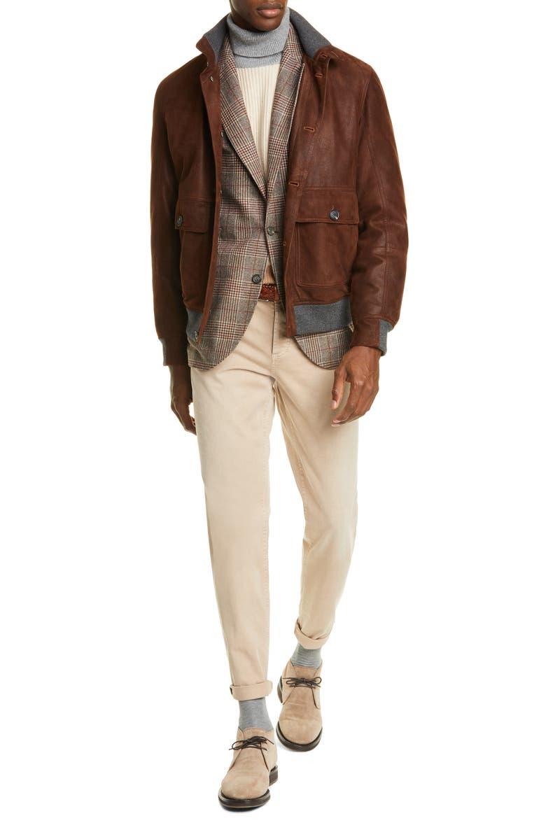 BRUNELLO CUCINELLI Colorblock Cashmere Turtleneck Sweater, Main, color, SAND