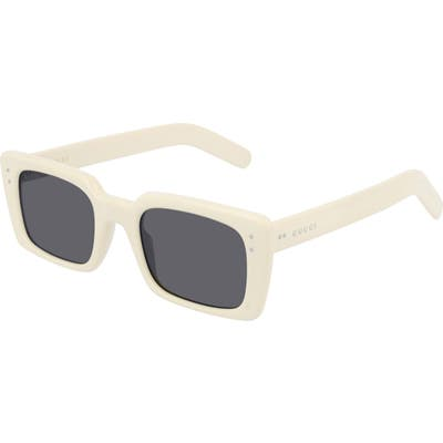 Gucci 52Mm Rectangle Sunglasses - Shiny Solid Ivory