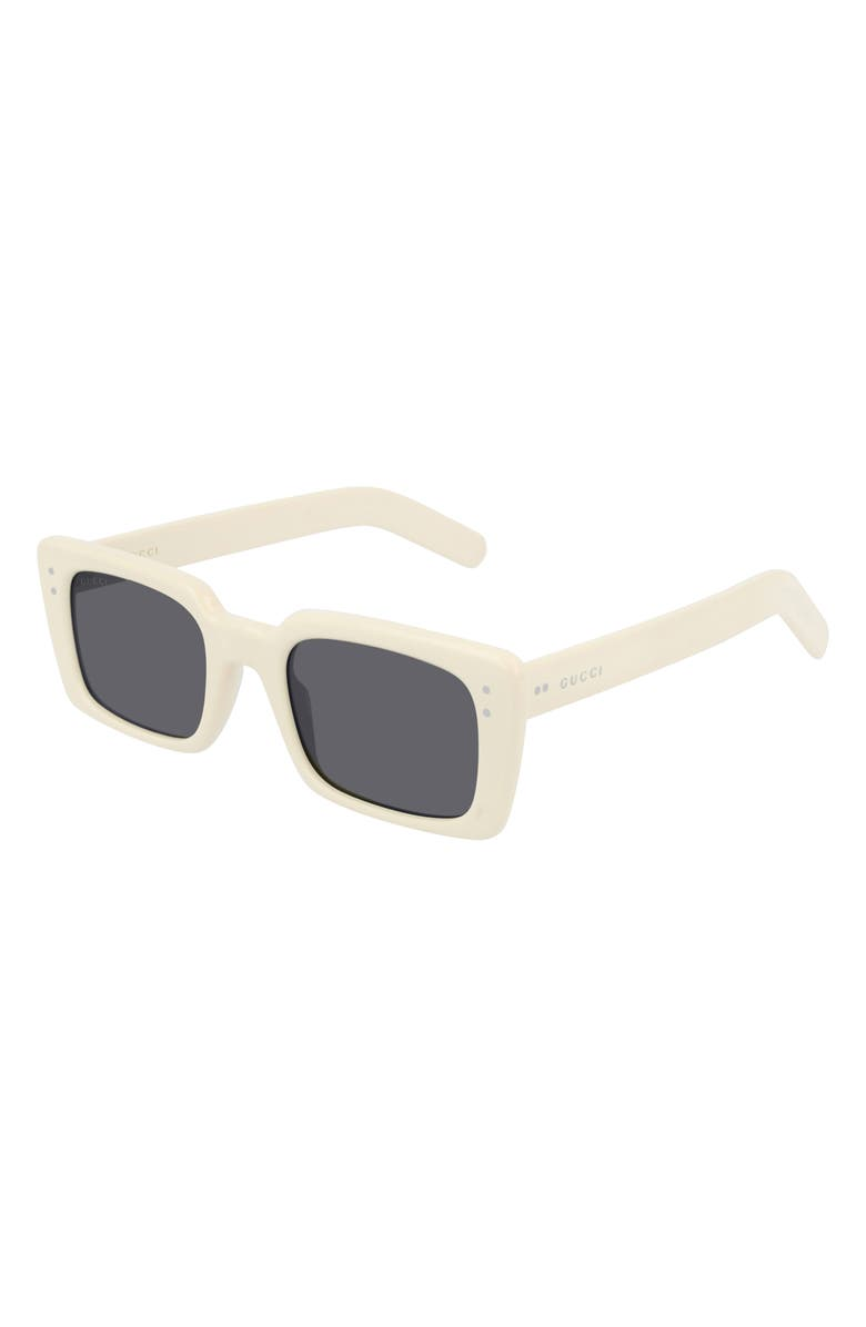 GUCCI 52mm Rectangle Sunglasses, Main, color, SHINY SOLID IVORY