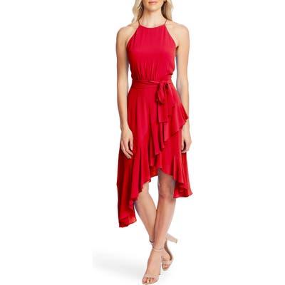 Cece Asymmetrical Cascading Ruffle Hem Dress, Red