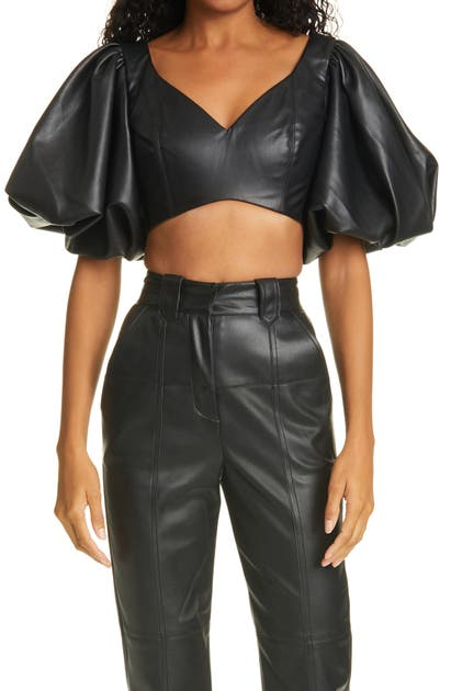 Aje REBELLION FAUX LEATHER CROP TOP