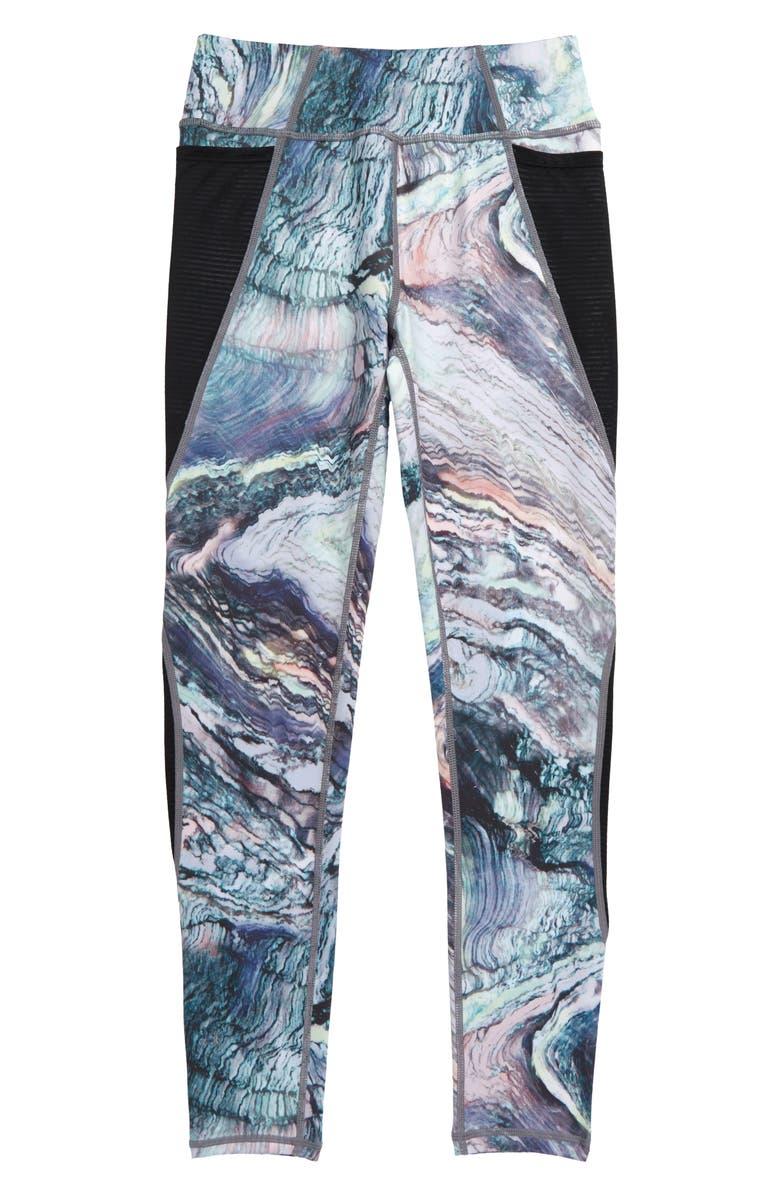 ZELLA GIRL Point Print Pocket Leggings, Main, color, GREY LILAC AURA PRINT