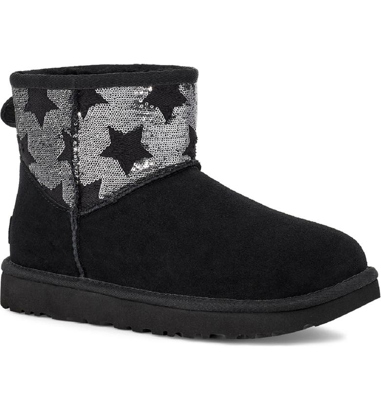 UGG<SUP>®</SUP> Classic Mini Sequin Stars Boot, Main, color, BLACK SUEDE