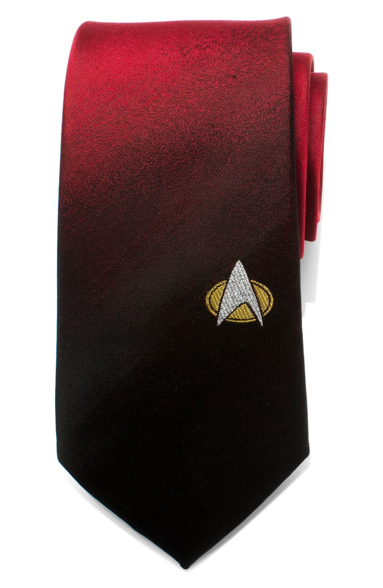 CUFFLINKS, INC. Star Trek TNG Shield Silk Tie, Main, color, RED