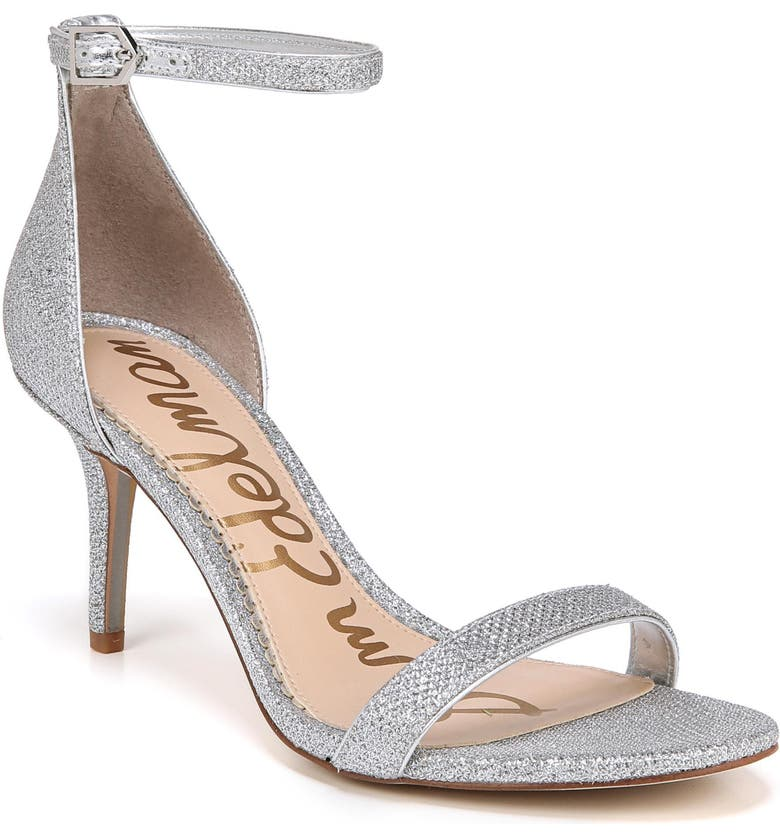 SAM EDELMAN 'Patti' Ankle Strap Sandal, Main, color, SOFT SILVER FABRIC