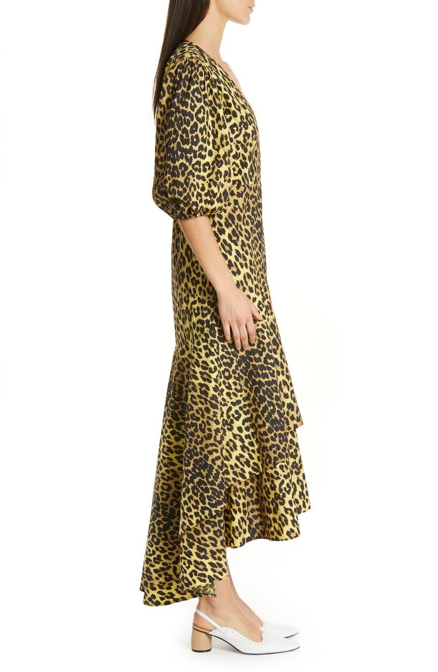1983d1b9 Ganni Leopard Print Cotton Wrap Dress | Nordstrom